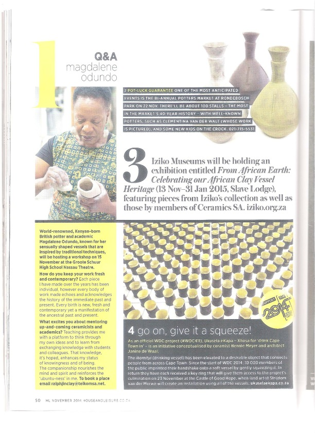 Clementina's Zigzag Vases in House & Leisure Magazine November 2014
